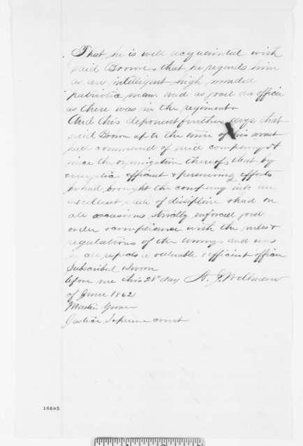 Abijah J. Wellman, Saturday, June 28, 1862  (Affidavit)