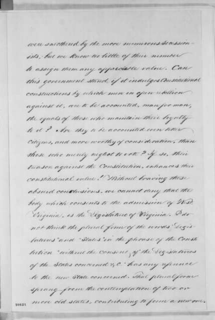 Abraham Lincoln, [December 31, 1862]  (Opinion on West Virginia Statehood)