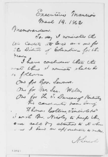 Abraham Lincoln, Friday, March 14, 1862  (Memorandum on West Point Appointments)