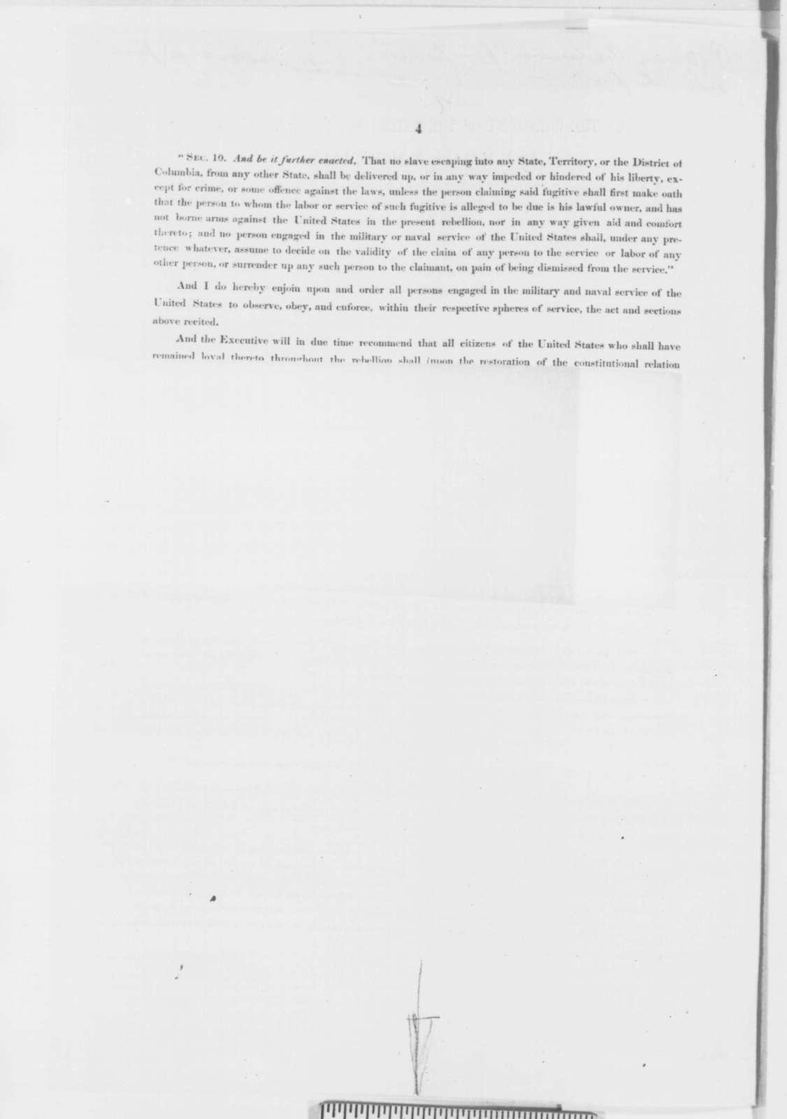 Abraham Lincoln, Monday, September 22, 1862  (Preliminary Emancipation Proclamation)