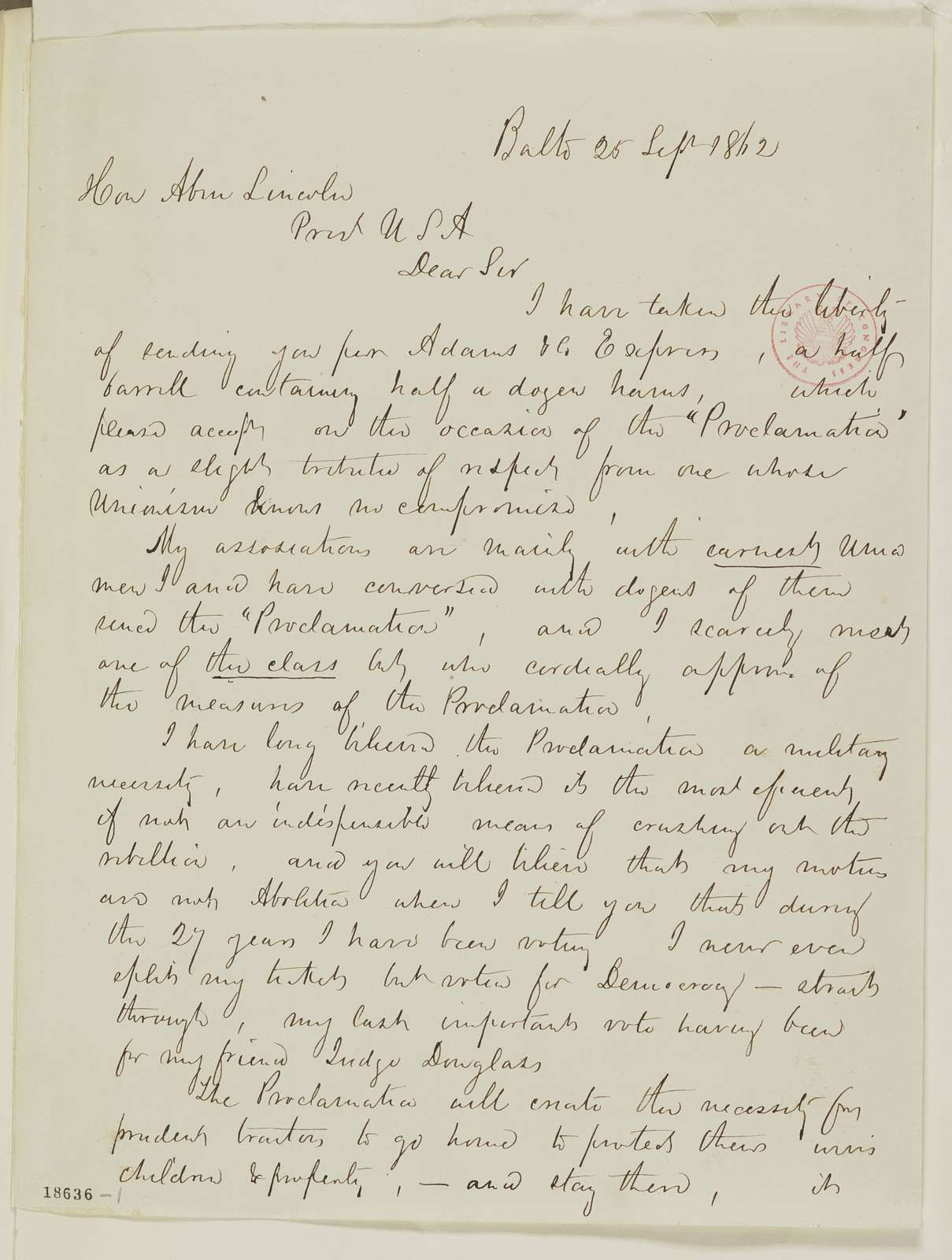 Abraham Lincoln papers: Series 1. General Correspondence. 1833-1916: George Cassaru to Abraham Lincoln, Thursday, September 25, 1862 (Sends hams)