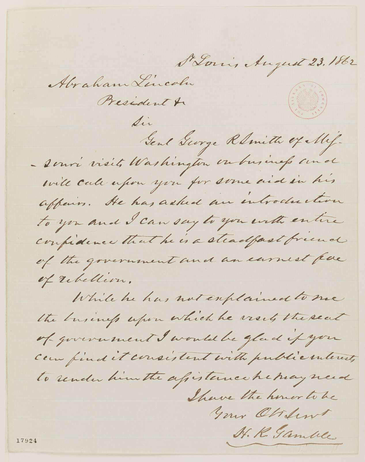 Abraham Lincoln papers: Series 1. General Correspondence. 1833-1916: Hamilton R. Gamble to Abraham Lincoln, Saturday, August 23, 1862 (Introduction)