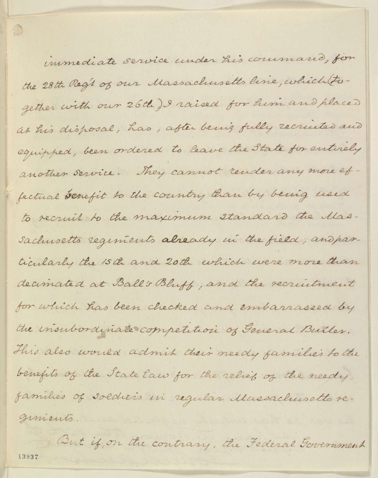 Abraham Lincoln papers: Series 1. General Correspondence. 1833-1916: John A. Andrew to Abraham Lincoln, Saturday, January 11, 1862 (Military affairs)
