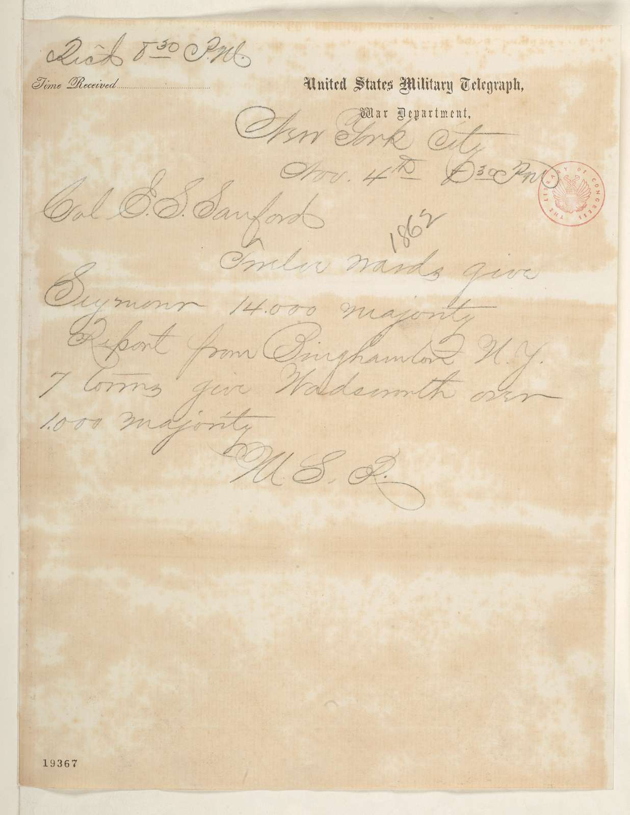 Abraham Lincoln papers: Series 1. General Correspondence. 1833-1916: William S. Roberts to Edward S. Sanford, Tuesday, November 04, 1862 (Telegram reporting New York election results)