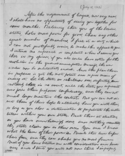 Abraham Lincoln, Saturday, July 12, 1862  (Address to Border State Representatives [Draft])