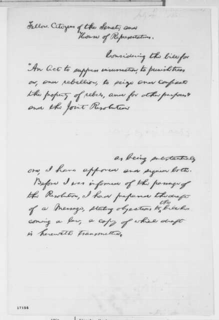 Abraham Lincoln to Congress, [July 17, 1862]  (Draft of Veto Message)