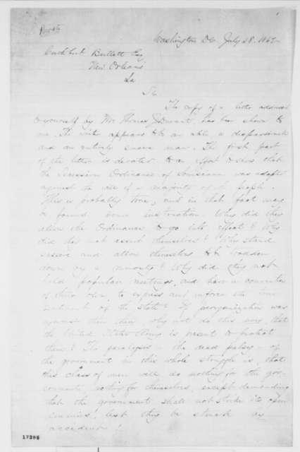 Abraham Lincoln to Cuthbert Bullitt, Monday, July 28, 1862
