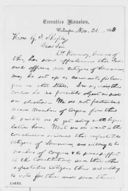 Abraham Lincoln to George F. Shepley, Friday, November 21, 1862