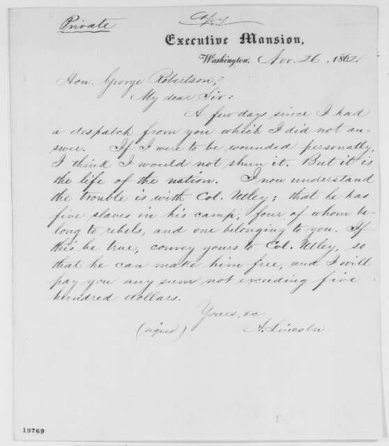 Abraham Lincoln to George Robertson, Wednesday, November 26, 1862