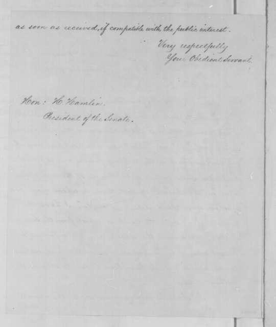 Abraham Lincoln to Hannibal Hamlin, Tuesday, December 09, 1862