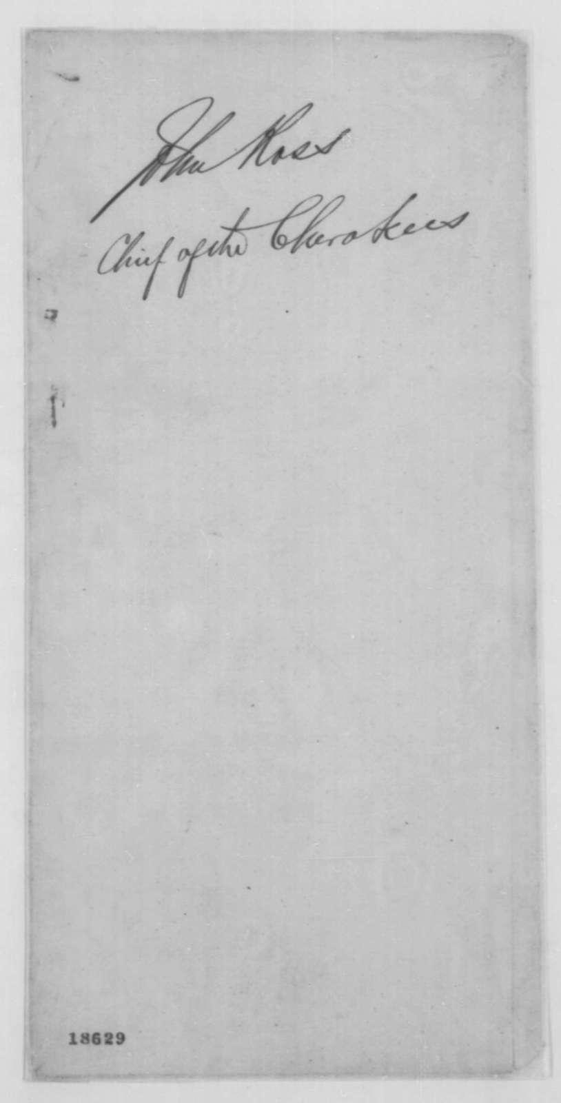Abraham Lincoln to John Ross, Thursday, September 25, 1862