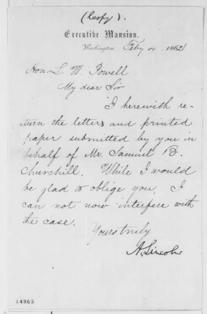 Abraham Lincoln to Lazarus W. Powell, Tuesday, February 04, 1862  (Case of Samuel Churchill)