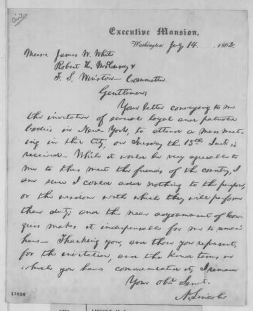 Abraham Lincoln to Robert H. McCurdy, James W. White, and F. S. Winston, Monday, July 14, 1862