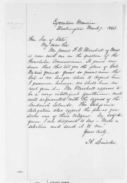 Abraham Lincoln to William H. Seward, Friday, March 07, 1862  (Appointment of James F. B. Marshall)