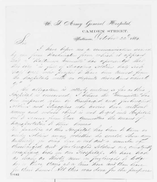 Alexander B. Hasson to Josiah Simpson, Wednesday, October 22, 1862  (Conditions at hospital in Baltimore)