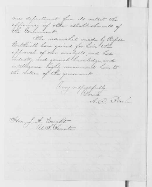 Alexander D. Bache to Joseph A. Wright, Wednesday, May 14, 1862  (Recommendation; endorsed by Henry Lane and Wright)