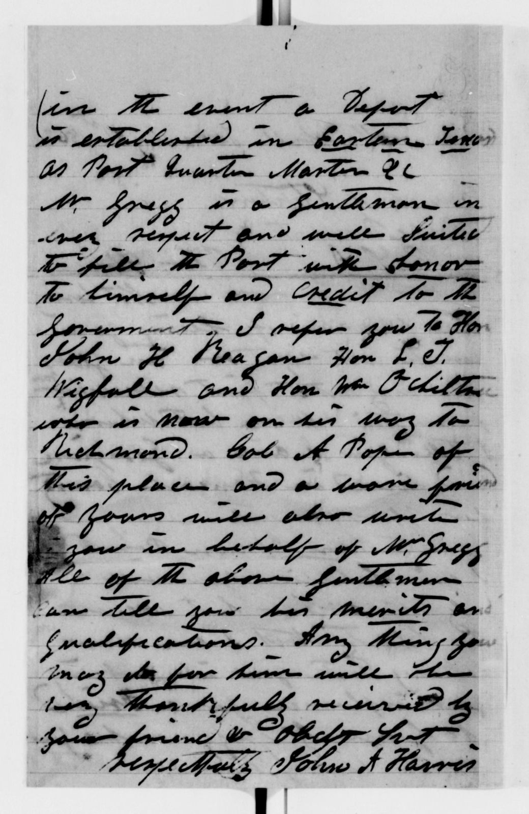Alexander Hamilton Stephens Papers: General Correspondence, 1784-1886; 1862, Apr. 30-June 18