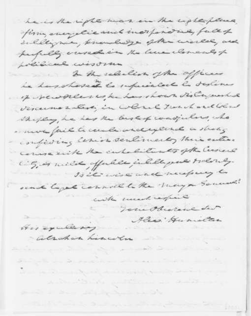 Alexander Hamilton to Abraham Lincoln, Monday, June 23, 1862  (Sends recipe for medicine)