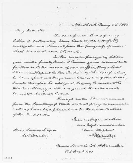 Alexander Hamilton to James Dixon, Monday, May 26, 1862  (Cover letter)