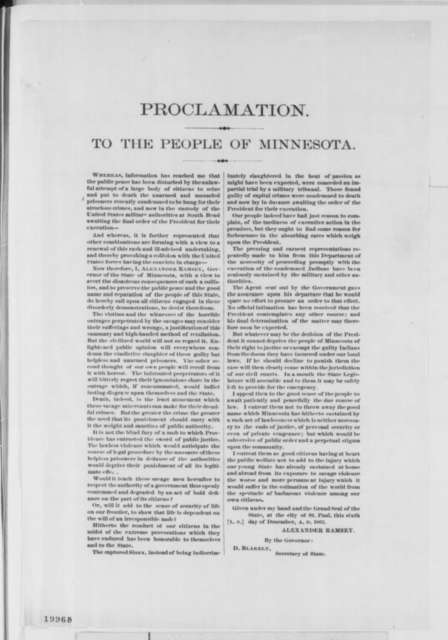 Alexander Ramsey to Minnesota Citizens, Saturday, December 06, 1862  (Printed Proclamation)