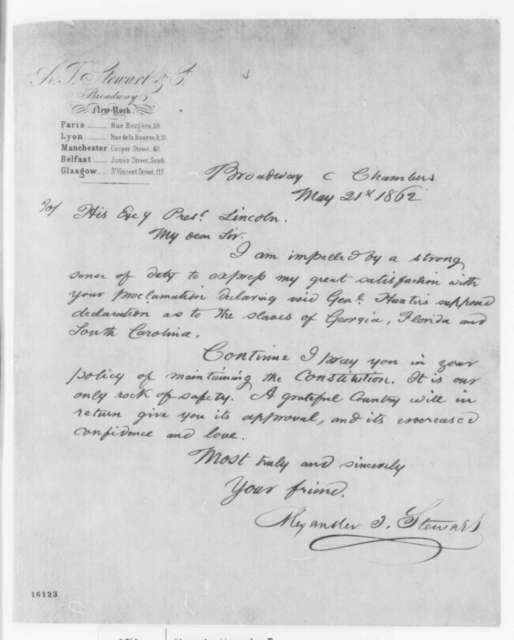 Alexander T. Stewart to Abraham Lincoln, Wednesday, May 21, 1862  (Support for Lincoln's revocation of Gen. Hunter's proclamation)