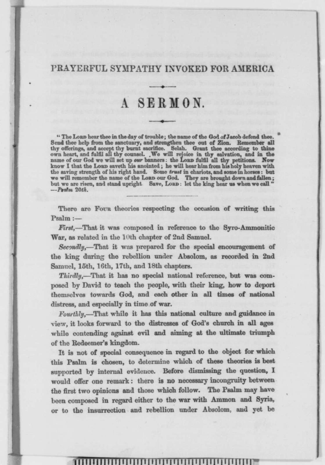 Alfred Thomas, Sunday, December 21, 1862  (Pamphlet; inscribed by Charles Cleveland)