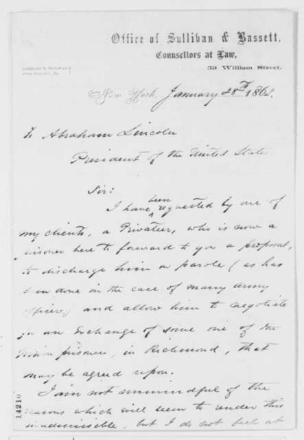 Algernon S. Sullivan to Abraham Lincoln, Tuesday, January 28, 1862  (Requests exchange of Confederate privateers for Union prisoners)
