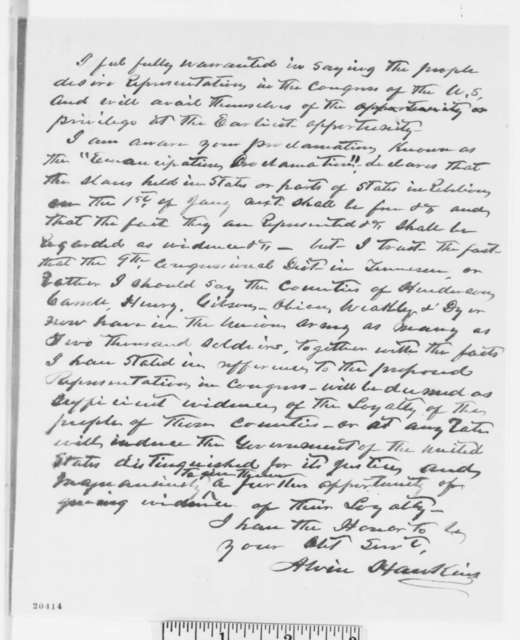 Alvin Hawkins to Abraham Lincoln, Wednesday, December 24, 1862  (Congressional election in Tennessee)