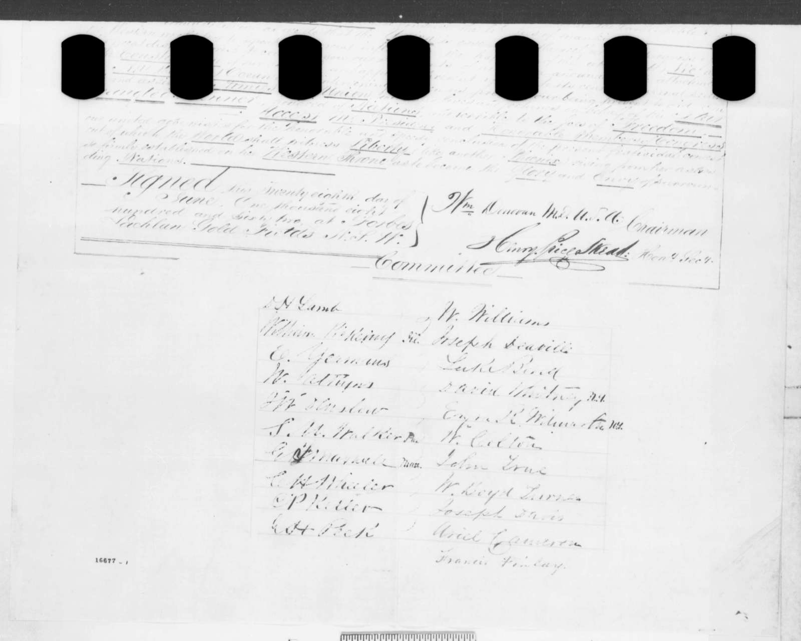 American Residents of Lachlan Gold Fields, New South Wales to Abraham Lincoln, Saturday, June 28, 1862  (Resolutions)