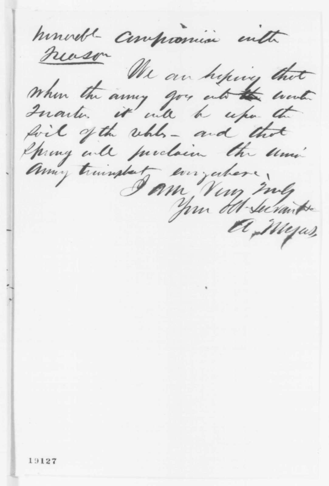 Amos Myers to Abraham Lincoln, Tuesday, October 21, 1862  (Political and military affairs)