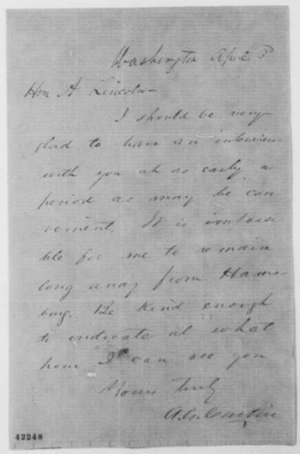 Andrew G. Curtin to Abraham Lincoln, April 3 [1862]  (Interview)