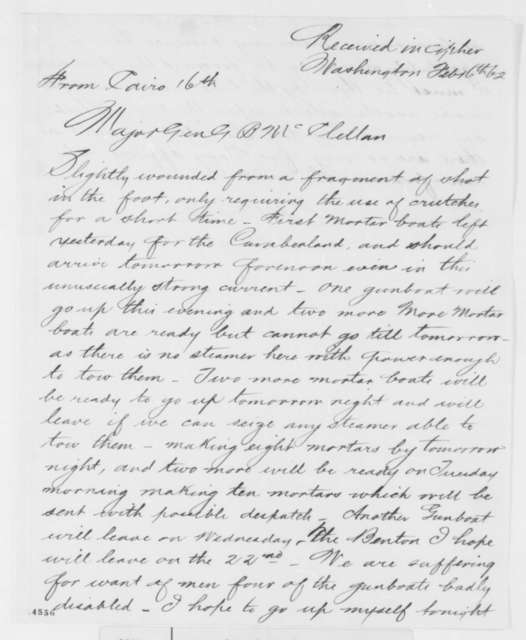 Andrew H. Foote to George B. McClellan, Sunday, February 16, 1862  (Military situation at Cairo)