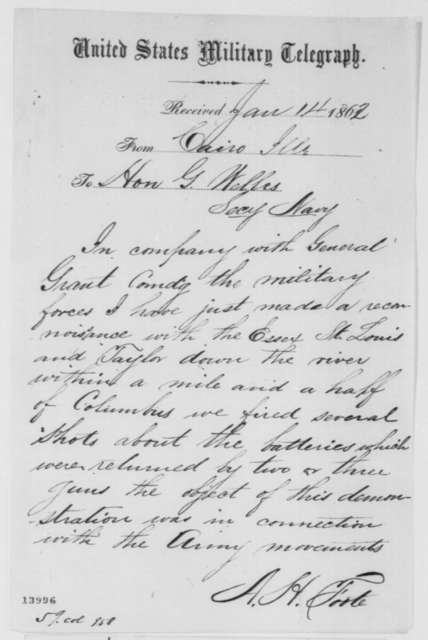 Andrew H. Foote to Gideon Welles, Tuesday, January 14, 1862  (Telegram regarding military affairs)