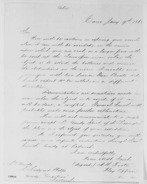 Andrew H. Foote to S. Ledyard Phelps, Thursday, January 09, 1862  (Military affairs)