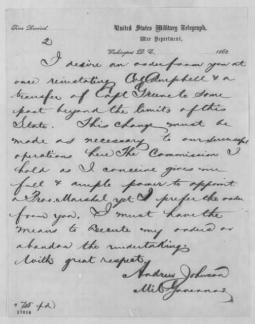 Andrew Johnson to Abraham Lincoln, Thursday, July 10, 1862  (Telegram regarding affairs in Tennessee)