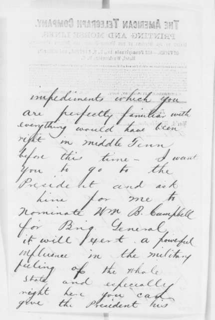 Andrew Johnson to Horace Maynard, Wednesday, June 04, 1862  (Telegram regarding affairs in Tennessee)