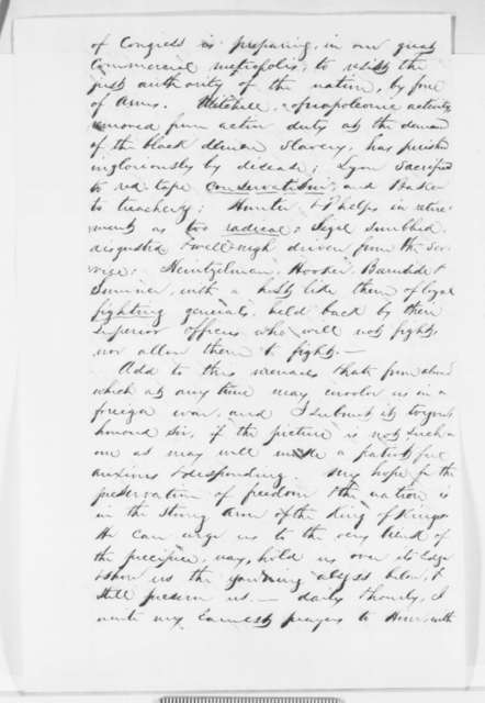 Andrew Parker to Abraham Lincoln, Sunday, November 09, 1862  (Critical of the conduct of the war)