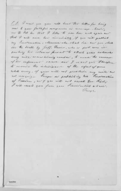 """Anonymous. """"Omega"""" to Abraham Lincoln,  1862  (Recommends emancipation)"""