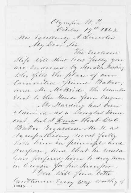 Anson G. Henry to Abraham Lincoln, Friday, October 17, 1862  (Politics in Washington Territory)