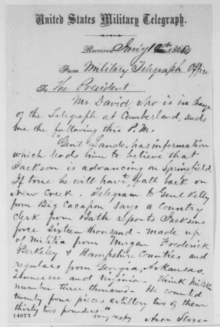 Anson Stager to Abraham Lincoln, Sunday, January 19, 1862  (Telegram regarding military affairs)