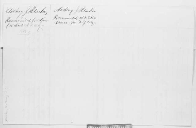 Anthony J. Bleecker, Thursday, March 13, 1862  (Recommendations)