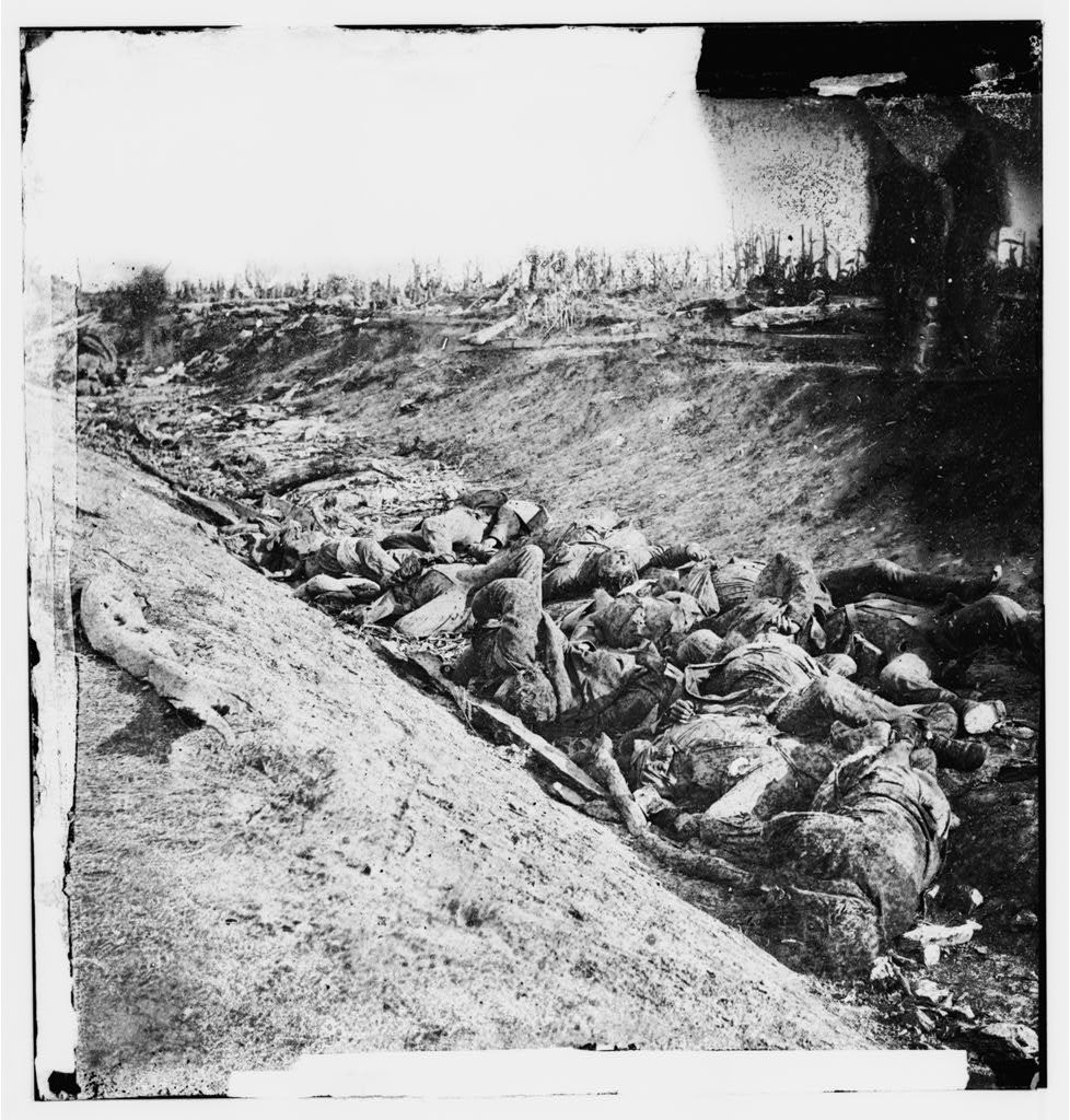 Antietam, Maryland. Dead soldiers in ditch on the right wing where Kimball's brigade fought so desperately