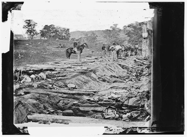 Antietam, Maryland. Ditch with bodies of soldiers on right wing used as a rifle pit by Confederates