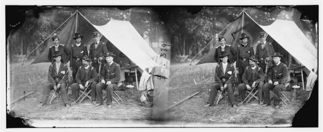 Antietam, Maryland. Group of Federal artillery offices on battlefield