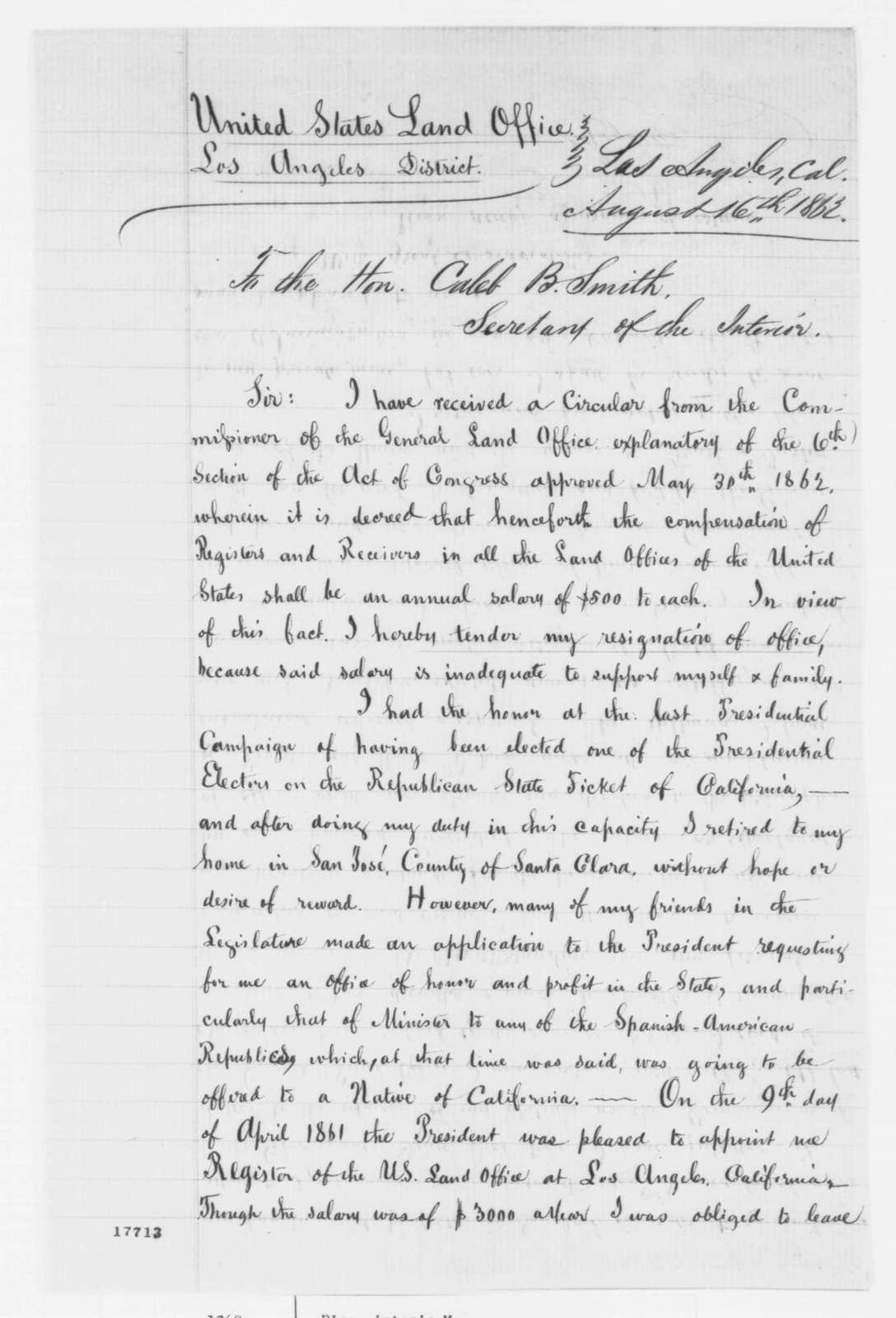 Antonio Maria Pico to Caleb B. Smith, Saturday, August 16, 1862  (Resignation; endorsed by Caleb Smith)