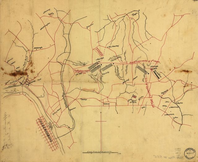 Approaches of A. of P. to Fredericksburg.
