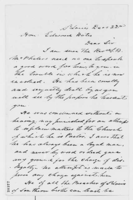 Archibald Gamble to Edward Bates, Monday, December 22, 1862  (Case of Samuel B. McPheeters)