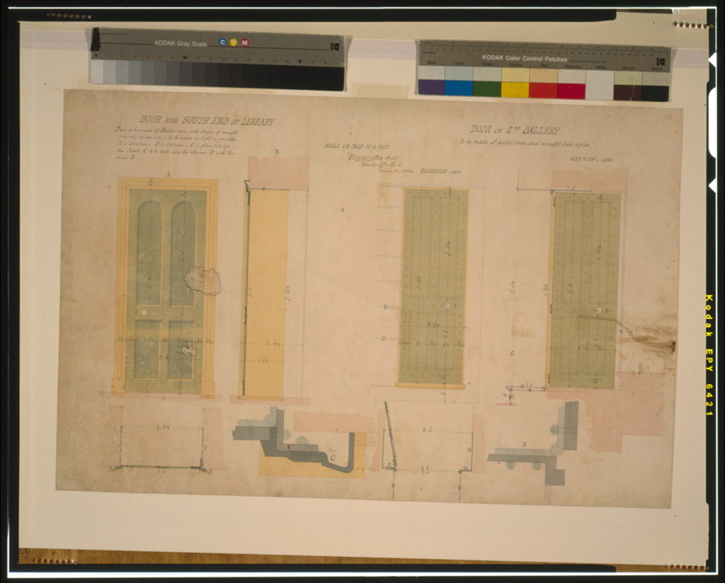 """Architectural drawing for doors (""""library door and gallery door"""") for the Library of Congress, Washington, D.C."""