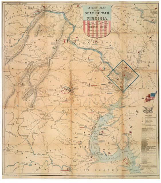 Army map of the seat of war in Virginia : showing the battle fields, fortifications etc. on & near the Potomac River /