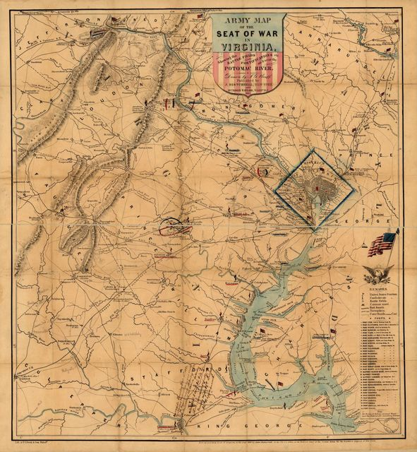 Army map of the seat of war in Virginia, showing the battle fields, fortifications, etc. on & near the Potomac River.
